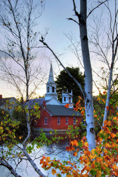 Photograph - White Steeple In Autumn - Harrisville, Nh by Joann Vitali