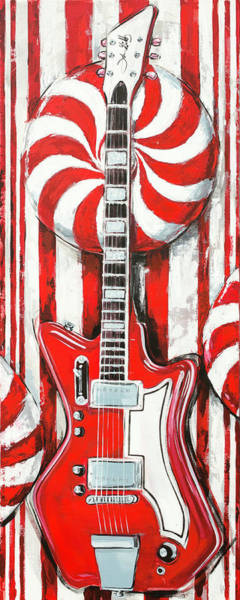 Painting - White Stripes Guitar by John Gibbs