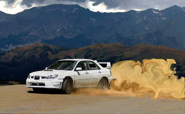Wrx Photograph - White Subaru Sti Drifting In The Mountains by Erin Hissong