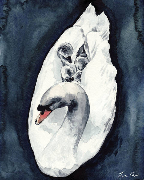 Wall Art - Painting - White Swan Mother And Babies On Lake Cygnets Swan Lake by Laura Row