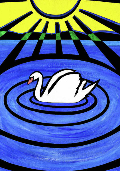 Cut-out Mixed Media - White Swan by Roseanne Jones