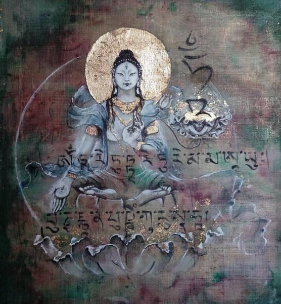 Hindu Goddess Wall Art - Painting - White Tara With Mantra by Silk Alchemy