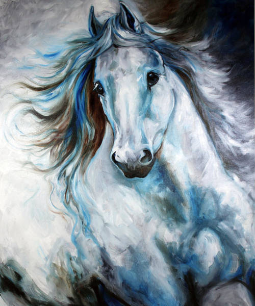 White Horse Wall Art - Painting - White Thunder Arabian Abstract by Marcia Baldwin