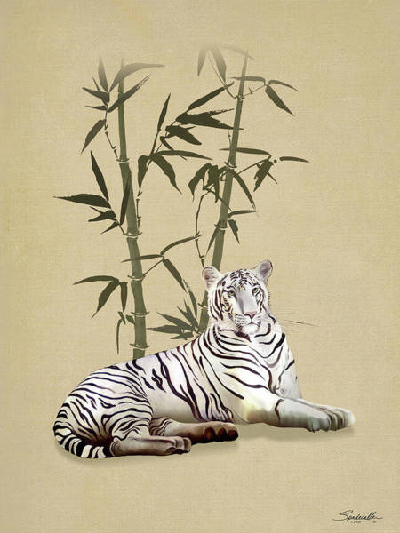 Digital Art - White Tiger In Bamboo Forest by M Spadecaller