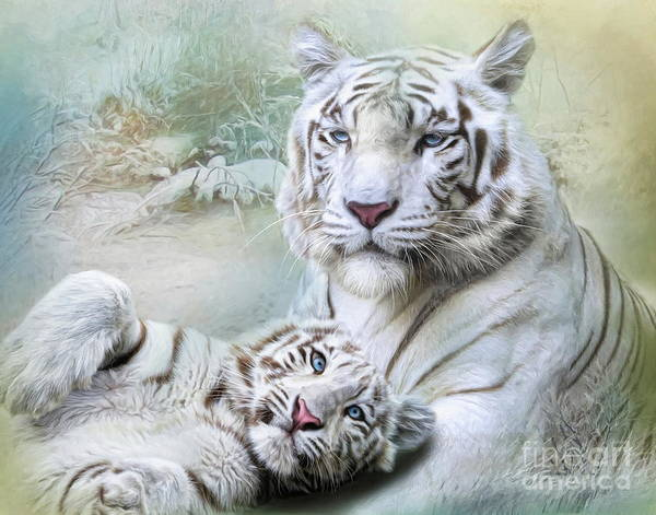 White Cat Mixed Media -  White Tiger by Trudi Simmonds