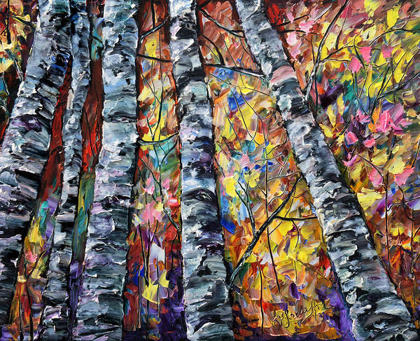 Painting - White Trees  - Palette Knife  by OLena Art - Lena Owens
