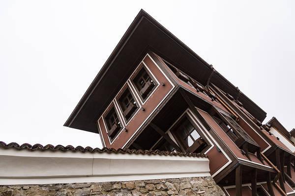 Photograph - White Trimmed Classic Revival House Against White Sky by Georgia Mizuleva