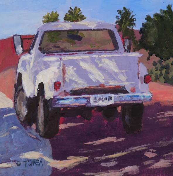 Sw Painting - White Truck Shadows - Art By Bill Tomsa by Bill Tomsa