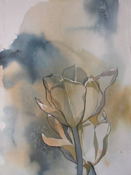 Painting - White Tulips With Blues by Alfred Ng