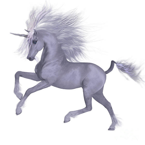 Unicorn Horn Digital Art - White Unicorn Prancing by Corey Ford