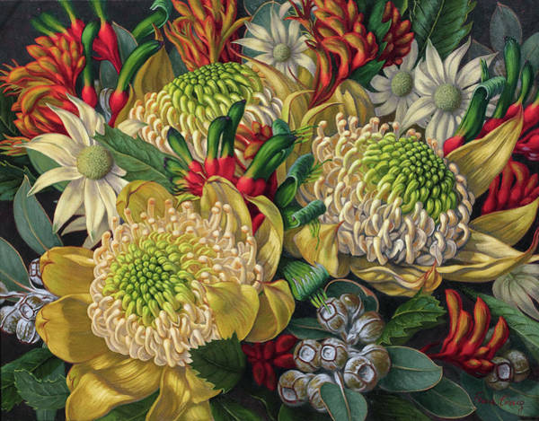 Botanic Painting - White Waratahs Flannel Flowers And Kangaroo Paws by Fiona Craig