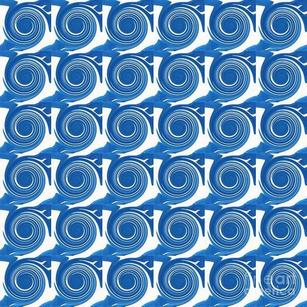 Digital Art - White Waves Swirling Design 2 by Helena Tiainen