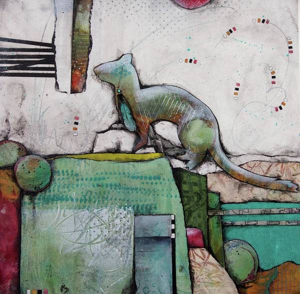 Weasel Wall Art - Mixed Media - White Weasel  by Laura Lein-Svencner