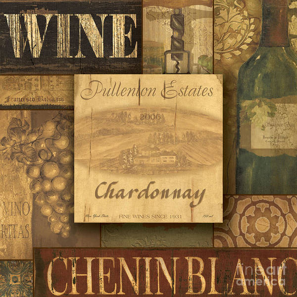 Vino Painting - White Wine Collage by Grace Pullen