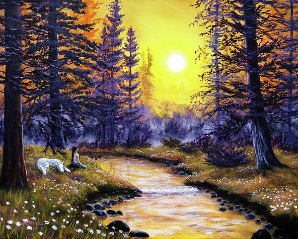 Wall Art - Painting - White Wolf Meditation by Laura Iverson