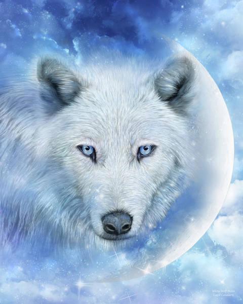 Mixed Media - White Wolf Moon by Carol Cavalaris