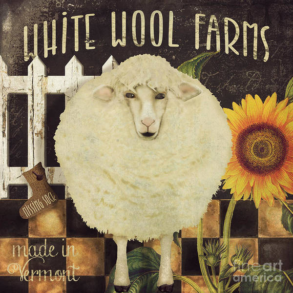 Sheep Painting - White Wool Farms by Mindy Sommers