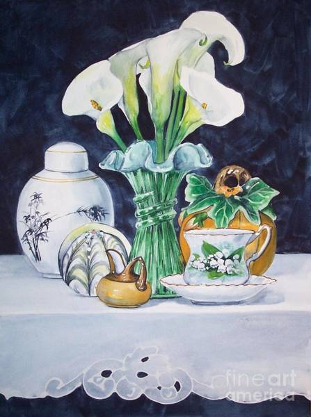 Painting - White Yellow And Green Composition by Jane Loveall
