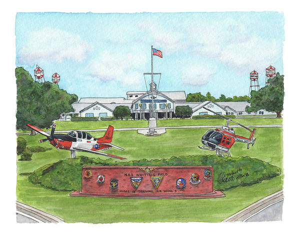 Painting - Whiting Field Welcome Sign by Betsy Hackett