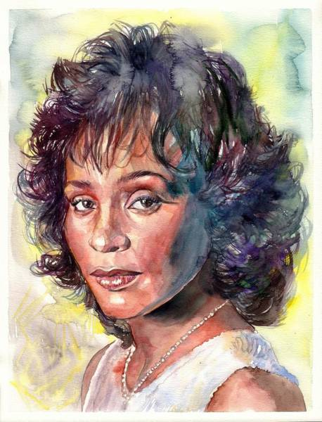 Blue Hair Wall Art - Painting - Whitney Houston Portrait by Suzann's Art