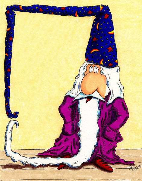 Wizard Hat Wall Art - Drawing - Whitney's Wizard by Ross Powell