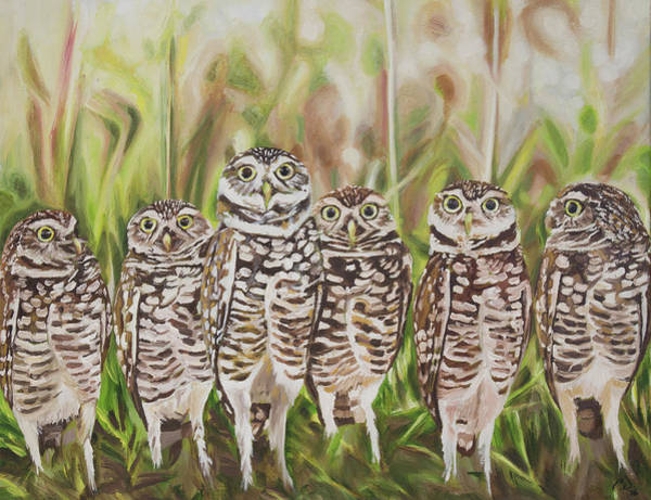 Burrowing Owl Painting - Who? Burrowing Owls by Cameron Dixon
