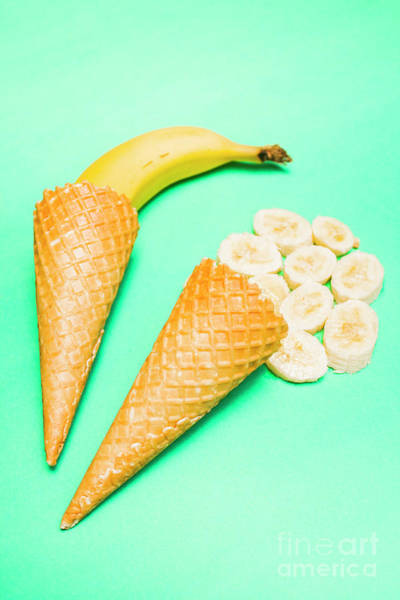 Ice Wall Photograph - Whole Bannana And Slices Placed In Ice Cream Cone by Jorgo Photography - Wall Art Gallery