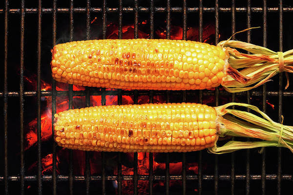 Open Photograph - Whole Corn On Grill by Johan Swanepoel