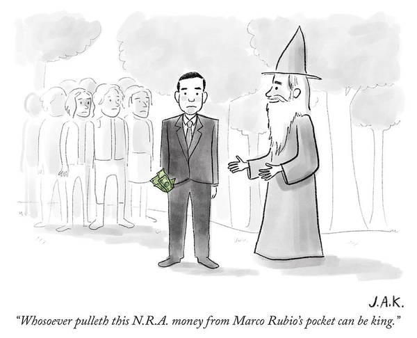 Marco Drawing - Whosoever Pulleth This Nra Money by Jason Adam Katzenstein