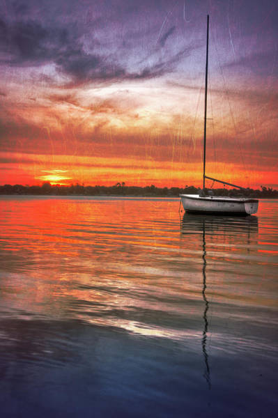 Photograph - White Boat At Sunset by Debra and Dave Vanderlaan