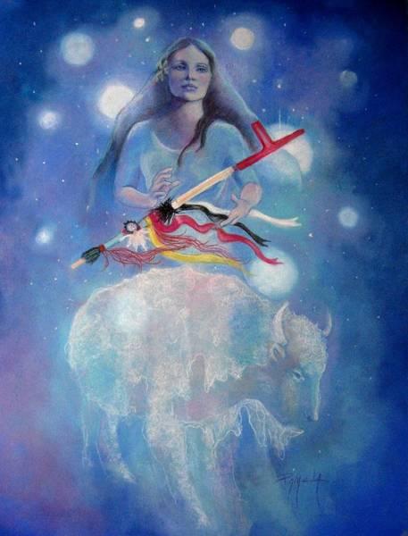 Whtie Buffalo Woman From The Pleiades Art Print by Pamela Mccabe