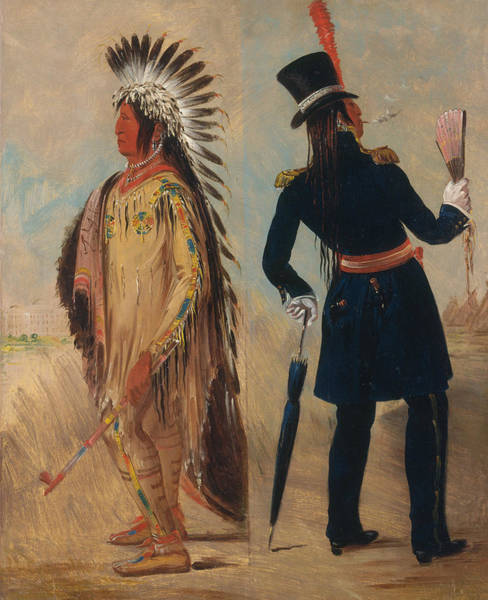 Wi Wall Art - Painting - Wi-jun-jon, Pigeon's Egg Head Going To And Returning From Washington by George Catlin