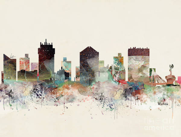 Watercolour Landscape Painting - Wichita Kansas Skyline by Bri Buckley