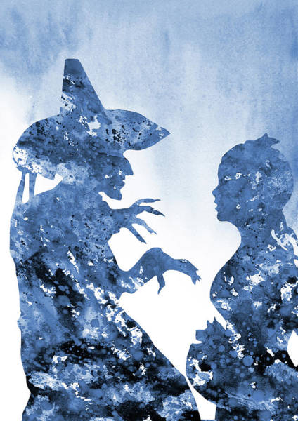 Wicked Witch Digital Art - Wicked Witch And Dorothy-blue by Erzebet S