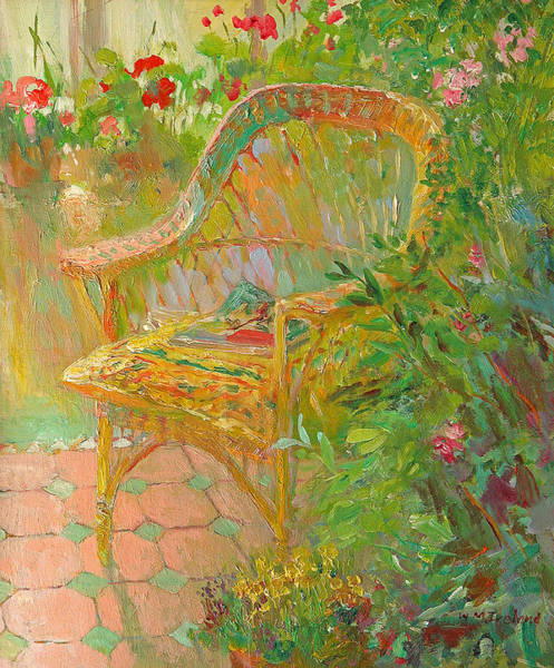 Wicker Wall Art - Painting - Wicker Chair by William Ireland