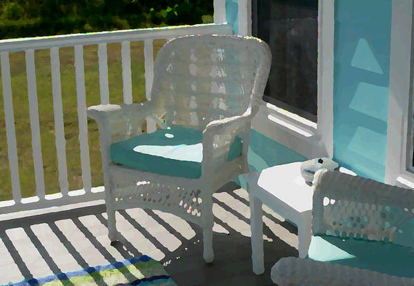 Photograph - Wicker Porch Chair Painting Effect by Kathy K McClellan