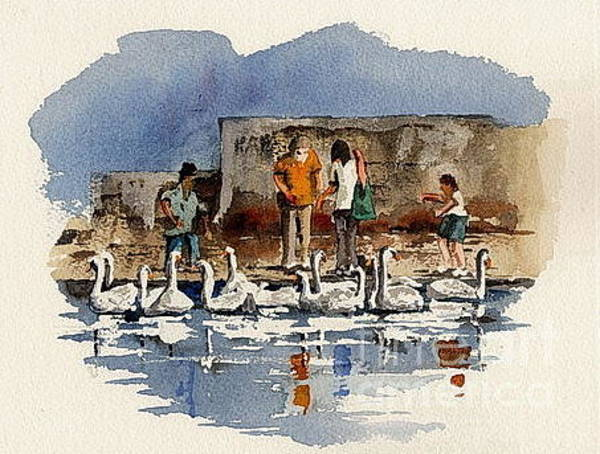 Painting - Wicklow.   Bray Feeding The Swans by Val Byrne