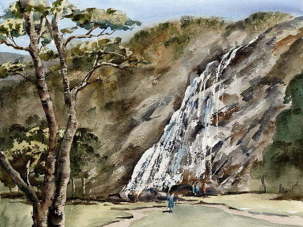 Painting - Wicklow... Powerscourt Waterfall by Val Byrne