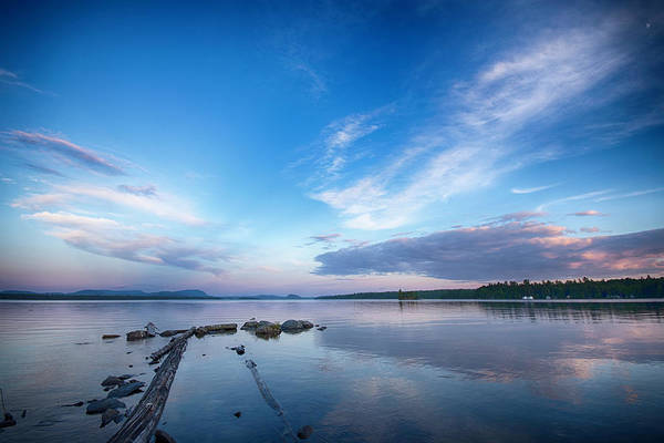 Wall Art - Photograph - Wide Angled Sunset Over Moosehead Lake by Justin Mountain
