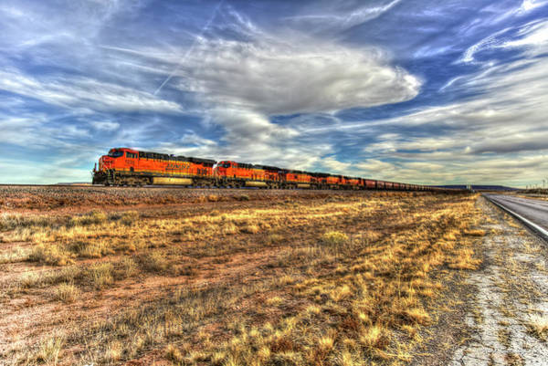 Photograph - Wide Open Spaces B N S F Train New Mexico Train Art by Reid Callaway