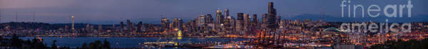 Safeco Field Photograph - Wide Panorama Of The Seattle Skyline At Dusk by Mike Reid