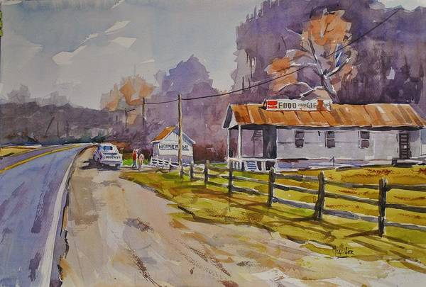 Spencer Shops Painting - Wide Spot In The Road by Spencer Meagher