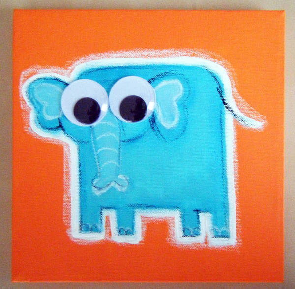 Morea Wall Art - Painting - wIGGLY eYE eLEPHANT by Mara Morea