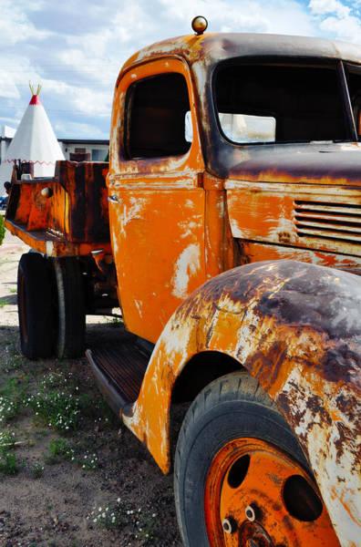 Photograph - Wigwam Motel Route 66 Orange Ford Portrait by Kyle Hanson