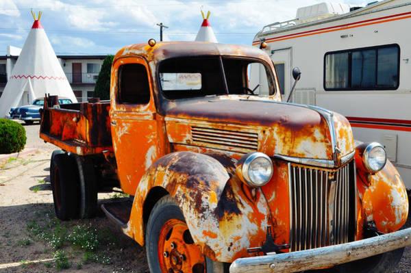 Photograph - Wigwam Motel Route 66 Orange Ford Truck Landscape by Kyle Hanson