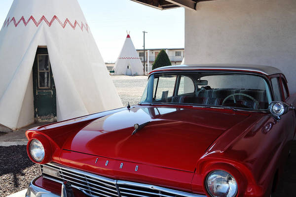 Photograph - Wigwam Motel Route 66 Red Ford by Kyle Hanson