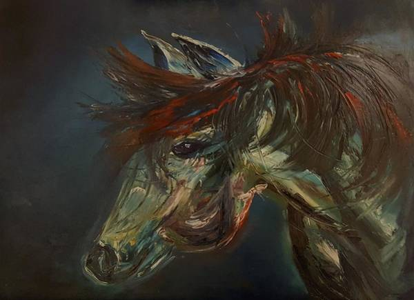 Painting - Wild Blue Horse                      84 by Cheryl Nancy Ann Gordon