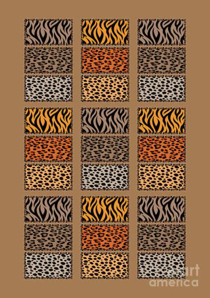 Wild Cats Patchwork Art Print