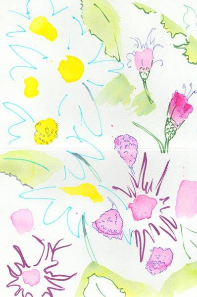Painting - Wild Daisies Pattern by Mike Jory