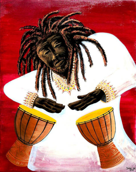 Conga Drum Painting - Wild Drummer  by Edson Lima